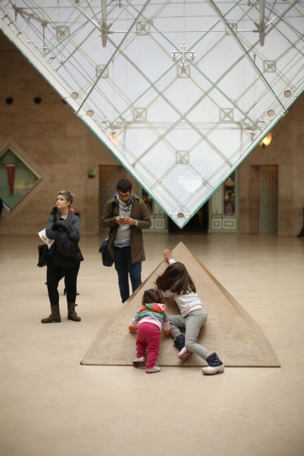 My children's antics at the Louvre.
