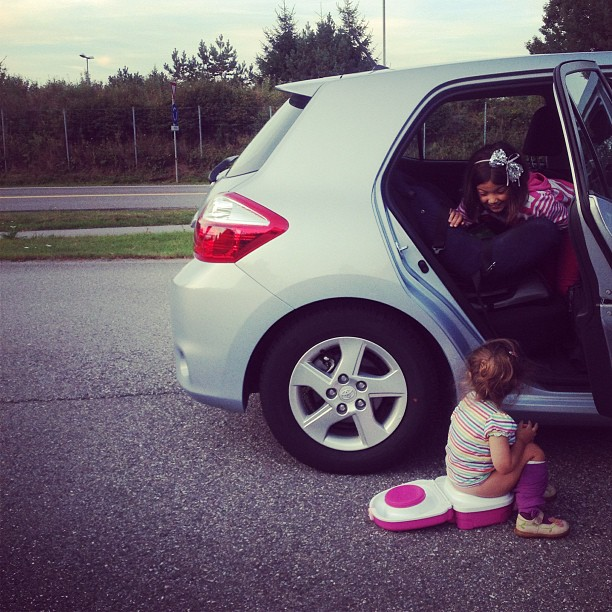 This is when she asked to use her potty in the middle of a motorway in Norway. She's a super trooper.