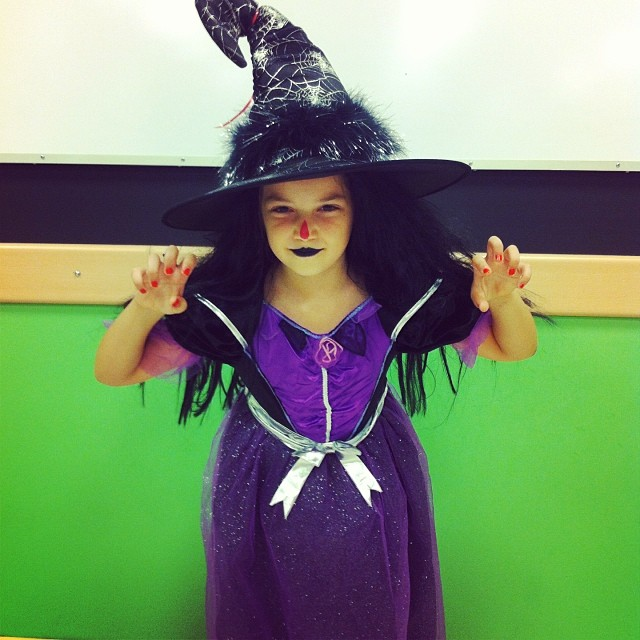 She dressed up as Winnie the Witch (another favourite character) for Halloween. I wish I could protect her innocence and have her baddies only exist in books.